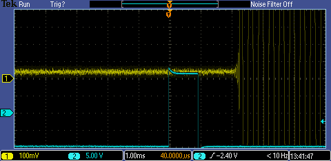 Example audio delay of about 2ms using the osciloscope test.